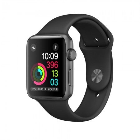 Apple Watch 1 Aluminium Space Grey Case Black Sport Band 42mm - MP032