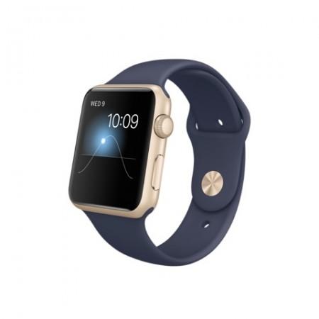 Smart Часовник Apple Watch Aluminium Gold Case Midnight Blue Sport Band 42mm - MLC72