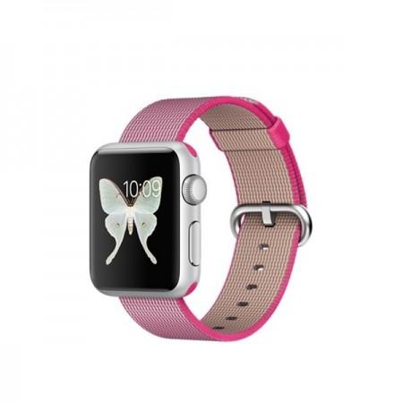 Smart Часовник Apple Watch Aluminium Silver Case Pink Sport Woven Nylon Band 38mm - MMF32