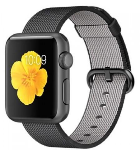 Smart Часовник Apple Watch Aluminum Space Gray Case Black Woven Nylon Band 38mm - MMF62