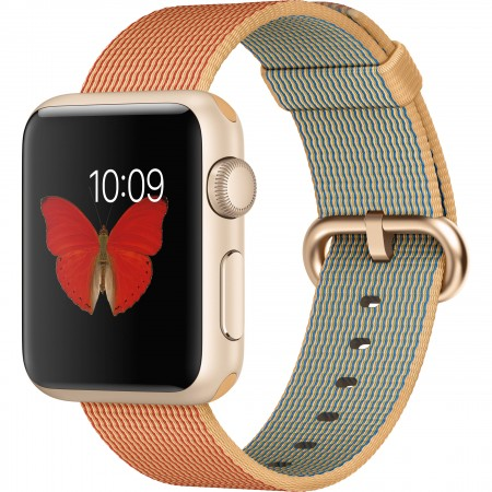 Smart Часовник Apple Watch Gold Red Woven Nylon Gold Aluminum Case 38mm - MMF52