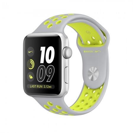 Smart Часовник Apple Watch NIKE+ SILVER ALUMINUM FLAT SILVER/VOLT NIKE SPORT 42MM - MNYQ2