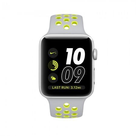 Цена на Apple Watch NIKE+ SILVER ALUMINUM FLAT SILVER/VOLT NIKE SPORT 42MM - MNYQ2