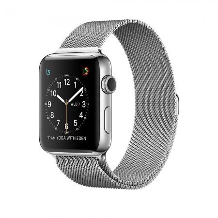 Apple Watch Series 2  Stainless Steel Case Silver Milanese Loop 42mm - MNPU2