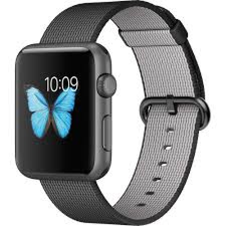 Apple Watch Series 2 Black Woven Nylon Space Gray Aluminum Case 42mm - MMFR2