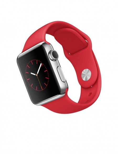 Smart Часовник Apple Watch Stainless Steel Case Red Sport Band 38mm - MLLD2