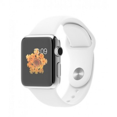 Smart Часовник Apple Watch Stainless Steel Case White Sport Band 38mm - MJ3O2