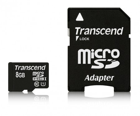 Карта памет Transcend 8GB micro SDHC UHS-I Premium with adapter, Class 10 TS8GUSDU1