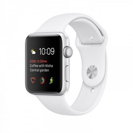 Smart Часовник Apple Watch 1 Aluminium Silver Case  White Sport Band 38mm  MNNG2