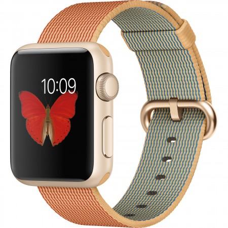 Smart Часовник Apple Watch Gold Red Woven Nylon Gold Aluminum Case 38mm  MMF52