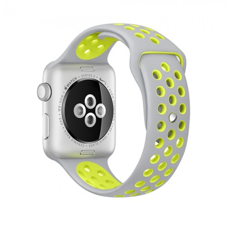 Цена Apple Watch NIKE+ SILVER ALUMINUM FLAT SILVER/VOLT NIKE SPORT 42MM - MNYQ2