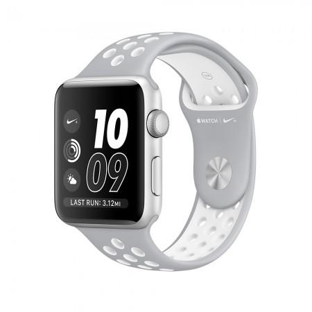 Apple Watch NIKE+ SILVER ALUMINUM FLAT SILVER/WHITE NIKE SPORT 42MM - MNNT2