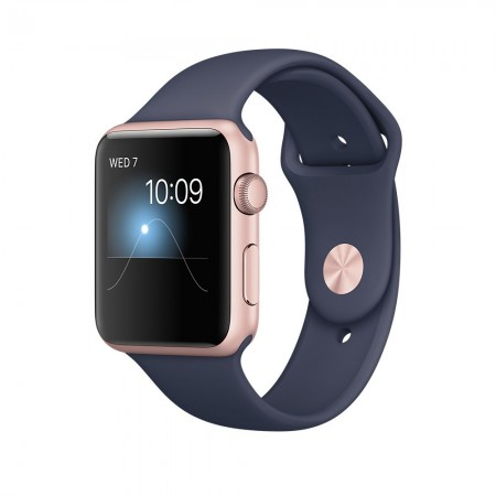 Apple Watch Series 2  Aluminium Rose Gold Case Midnight Blue Sport Band 42mm - MNPL2