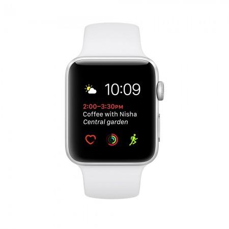 Цена на Apple Watch Series 2  Aluminium Silver Case White Sport Band 42mm - MNPJ2