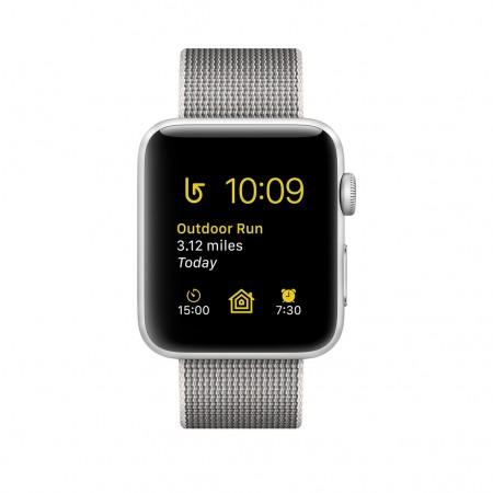 Smart Часовник Apple Watch Series 2 Silver Aluminum Case Pearl Woven Nylon 38MM - MNNX2