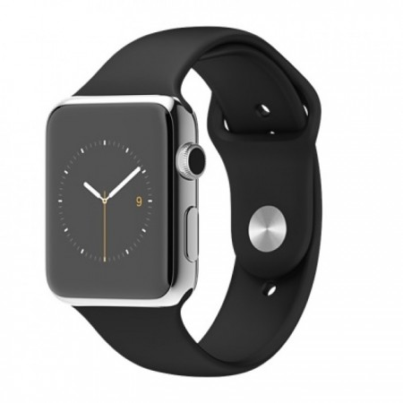 Smart Часовник Apple Watch Stainless Steel Case Black Sport Band 42mm  MJ3U2