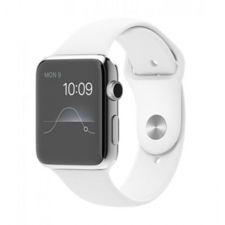 Smart Часовник Apple Watch Stainless Steel Case White Sport Band 42mm - MJ3V2