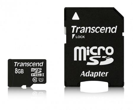 Карта памет Transcend 8GB micro SDHC UHS-I Premium with adapter, Class 10 TS8GUSDU1