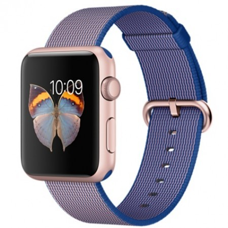 Smart Часовник Apple Apple Watch Aluminium Rose Gold Case Royal Blue Woven Nylon Band 42mm - MMFP2