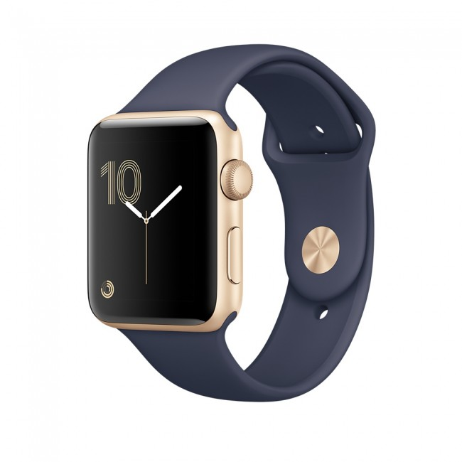 Smart Часовник Apple Apple Watch Series 2 42mm Gold Aluminum Case with Midnight Blue Sport Band MQ152