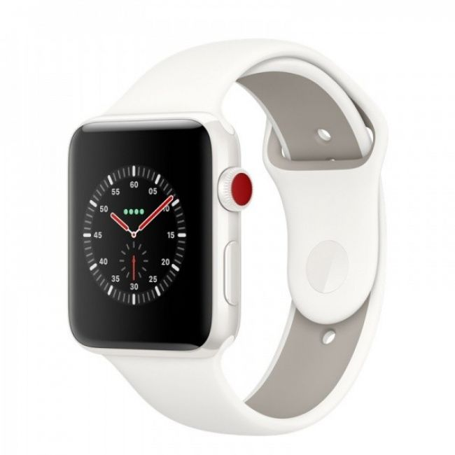 Smart Часовник Apple Edition 42mm Series 3 GPS + Cellular White Ceramic Case with Soft White/Pebble Sport Band (MQM52)