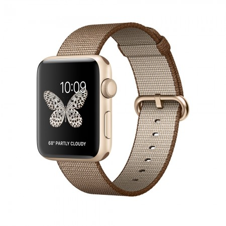 Smart Часовник Apple Series 2 Watch Gold Aluminum Case Toasted Coffee/Caramel Woven Nylon MNPP2