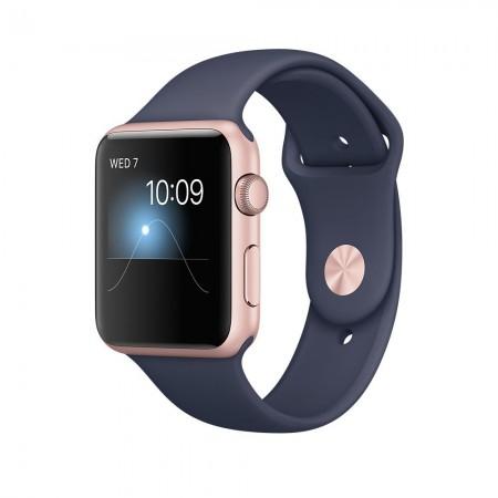 Smart Часовник Apple Watch 1 Aluminium Gold Case Midnight Blue Sport Band 42mm  MNNM2