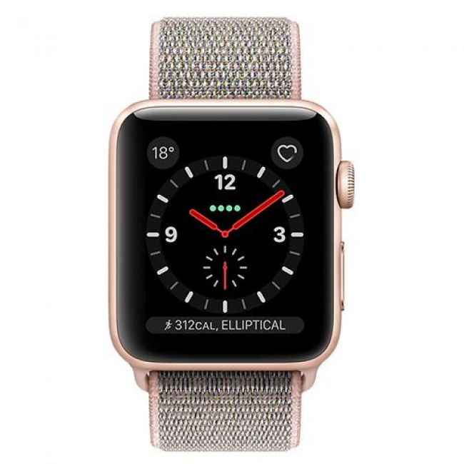 Smart Часовник Apple Watch 3 LTE - 38mm Gold Aluminum/Pink Sand MQKL2