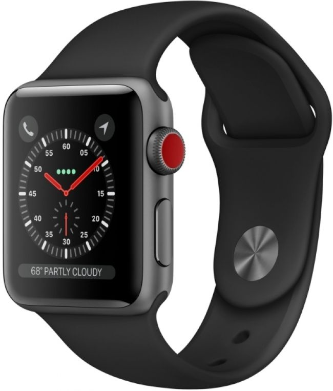Smart Часовник Apple WATCH 3 LTE 38MM SPACE GREY ALUMINUM CASE WITH BLACK SPORT BAND- MQKG2