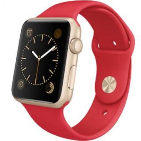 Smart Часовник Apple Watch Aluminium Gold Case Pink-Red Sport Band 38mm - MMEC2