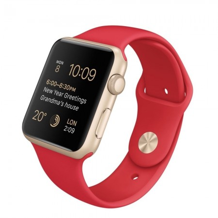 Smart Часовник Apple Watch Aluminium Gold Case Red Sport Band 42mm  MMEE2