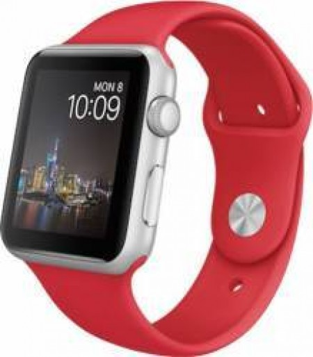 Smart Watch Apple Watch Aluminium Silver Case Red Sport Band 38mm  MME92