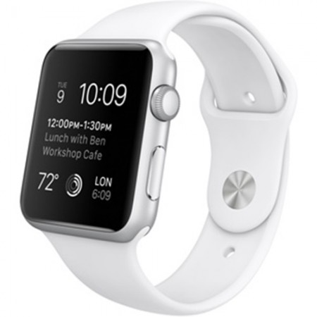 Smart Часовник Apple Watch Aluminium Silver Case White Sport Band 42mm MJ3N2
