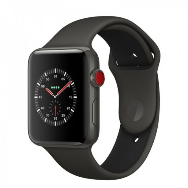 Smart Часовник Apple Watch Edition 42mm Series 3 GPS + Cellular Gray Ceramic Case with Gray/Black Sport Band (MQM62)