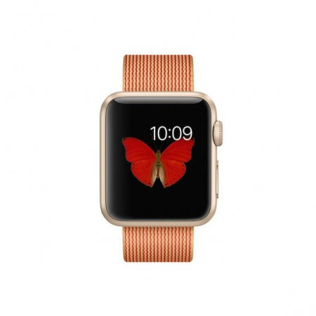 Цена на Apple Watch Gold Red Woven Nylon Gold Aluminum Case 38mm  MMF52