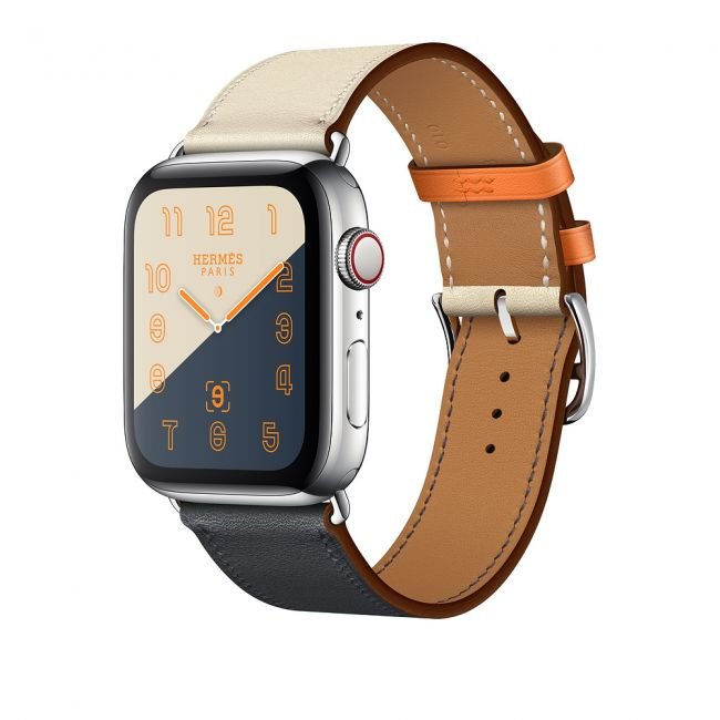 Smart Watch Apple Watch Hermès Stainless Steel Case with Indigo/Craie/Orange Swift Leather 44mm GPS + Cellular
