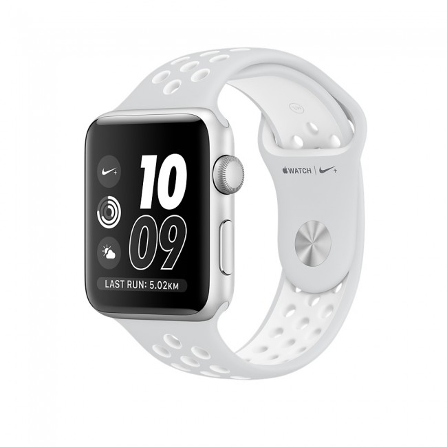 Smart Часовник Apple Watch Nike+ 38mm Silver Aluminum Case with Pure Platinum/White Nike Sport Band MQ172