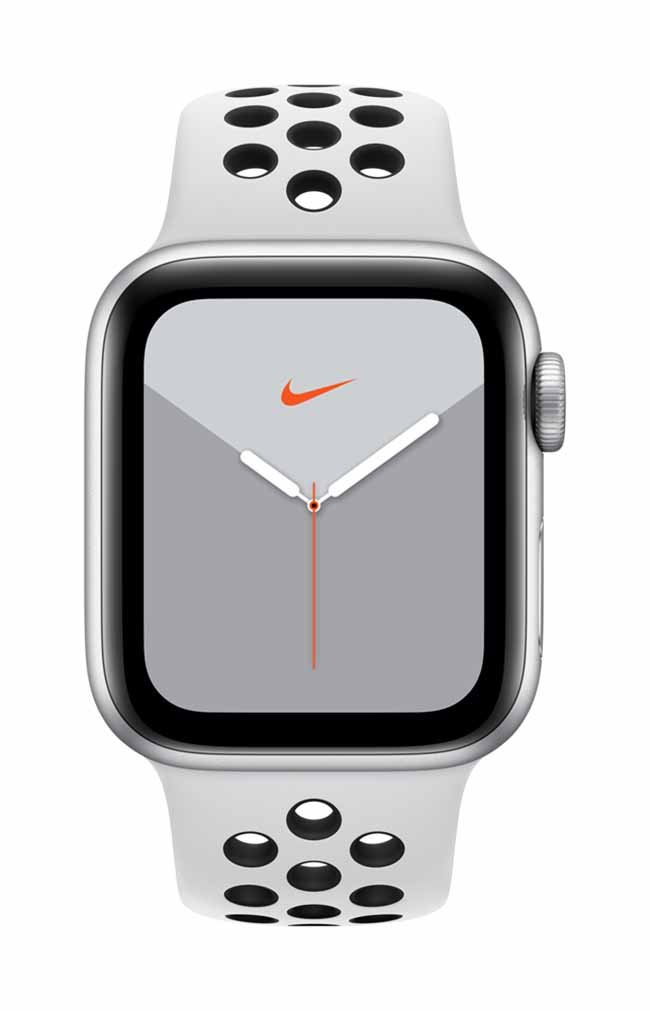 Smart Watch Apple Watch Nike Series 5 GPS, 40mm Silver Aluminium Case with Pure Platinum/Black Nike Sport Band MX3R2