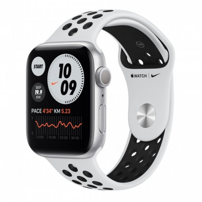 Smart Watch Apple Watch Nike Series 6 GPS, 40mm Silver Aluminium Case with Pure Platinum/Black Nike Sport Band M00T3