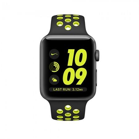 Цена на Apple Watch NIKE+  SPACE GRAY ALUMINUM BLACK/VOLT NIKE SPORT 42MM - MP0A2