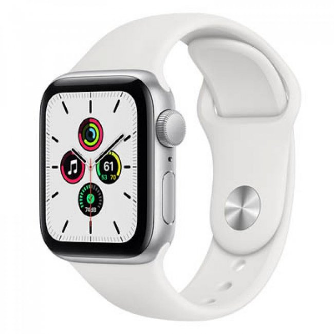 Smart Watch Apple Watch SE GPS, 40mm Silver Aluminium Case with White Sport Band - MYDM2