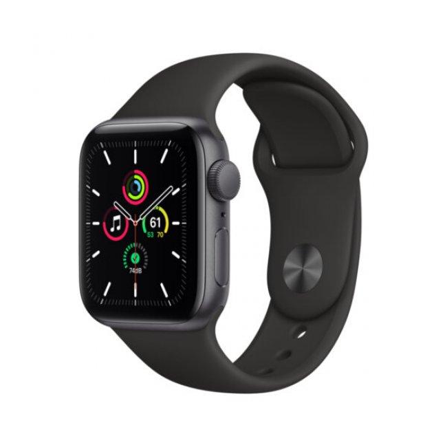 Smart Watch Apple Watch SE GPS, 40mm Space Gray Aluminium Case with Black Sport Band - MYDP2