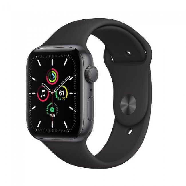 Smart Watch Apple Watch SE GPS, 44mm Space Gray Aluminium Case with Black Sport Band - MYDT2