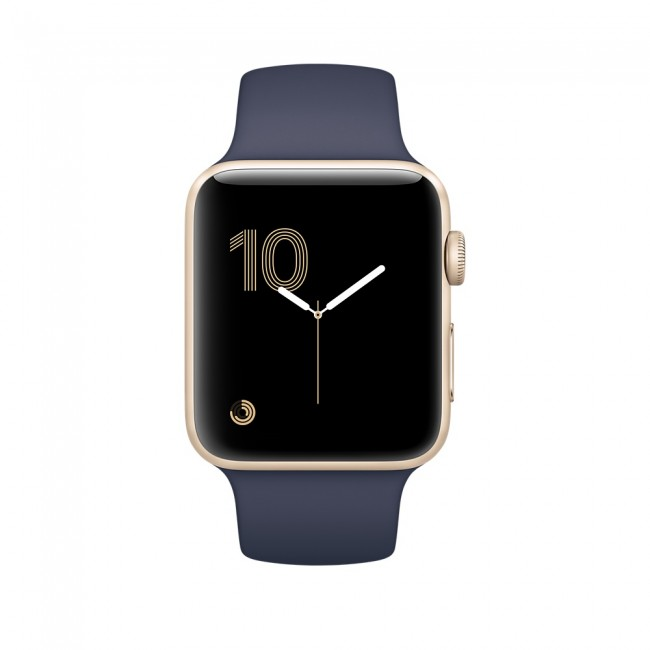 Smart Часовник Apple Watch Series 2 38mm Gold Aluminum Case with Midnight Blue Sport Band MQ132