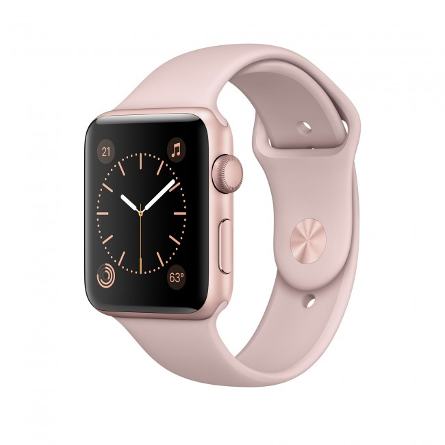 Smart Часовник Apple Watch Series 2 42mm Rose Gold Aluminum Case with Pink Sand Sport Band MQ142