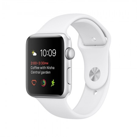 Apple Watch Series 2  Aluminium Silver Case White Sport Band 42mm - MNPJ2
