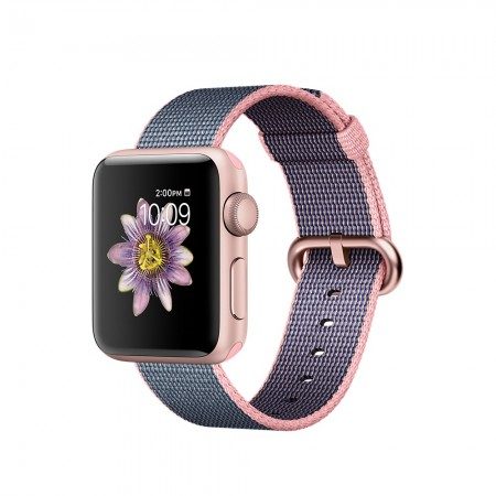 Smart Часовник Apple Watch Series 2 Rose Gold Aluminum Case with Light Pink/Midnight Blue Woven Nylon 38mm - MNP02