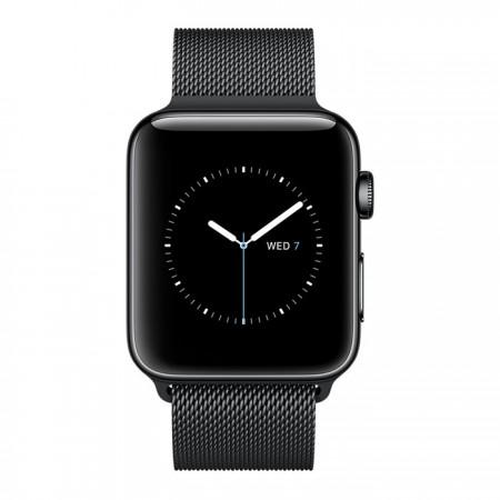 Цена на Apple Watch Series 2  Stainless Steel Black Case Black Milanese Loop 42mm - MNQ12