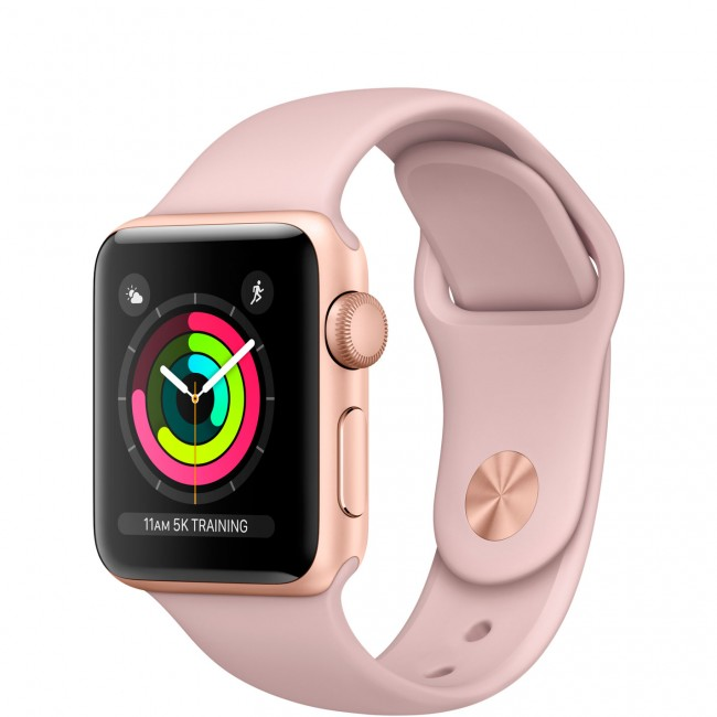 Smart Часовник Apple Watch Series 3 GPS 38mm Gold Aluminum Case with Pink Sand Sport Band MQKW2