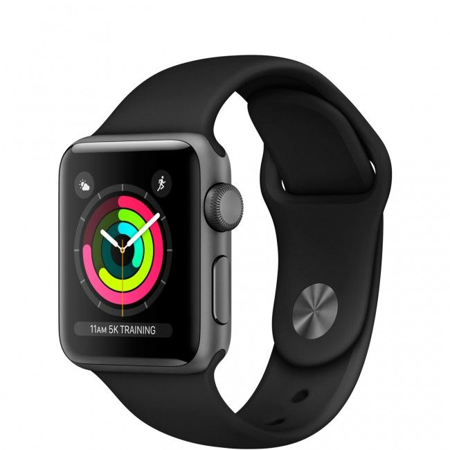 Smart Watch Apple Watch Series 3 GPS 42mm Space Gray Aluminum Case with Black Sport Band MTF32